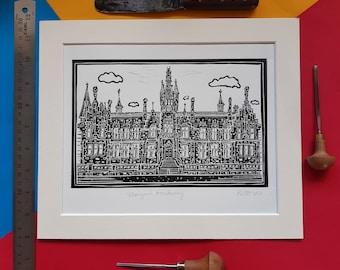 """Morgan Academy. 10"""" x 12"""" linocut print by Pamela Scott. Dundee. School. The Morgan. Dundee Art. Dundee Gift"""