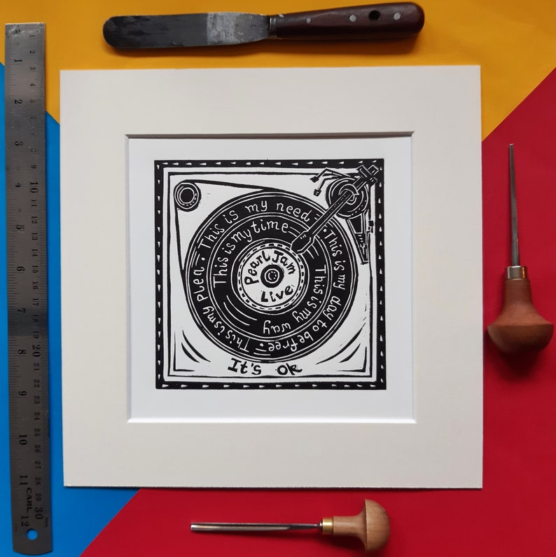 Daughter Eddie Vedder It/'s Okay 10 x 10 linocut print by Pamela Scott Vinyl. Dead Moon cover Record Player It/'s ok Pearl Jam live
