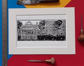 Magdalen Green Band Stand, Dundee. Original A4 Linocut Print by Pamela Scott.
