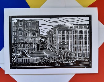 DJCAD greetings card featuring the linocut print by Pamela Scott. A6 size. Envelope included. Dundee. Art College. Dundee card. Dundee gift