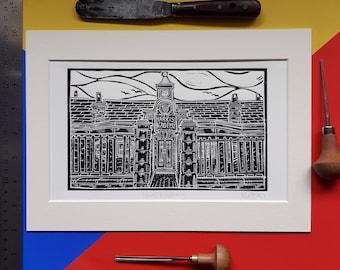 Harris Academy. A4 linocut print by Pamela Scott. Old Harris Academy. Dundee. Old Dundee. Dundee School.