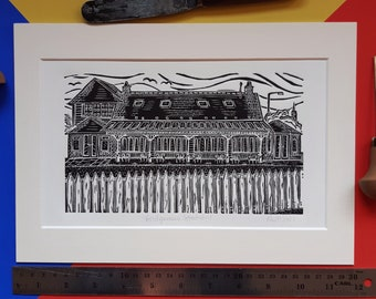 Bridgeview Station. A4 linocut print by Pamela Scott. Cafe. Restaurant. Dundee.