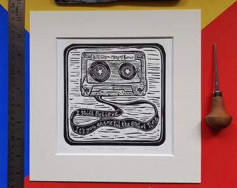 """Many of Horror by Biffy Clyro. 10"""" x 10"""" linocut print by Pamela Scott. Only Revolutions. Cassette. Tape. You and Me. End of Time."""