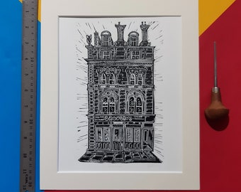 """Grouchos. 10"""" x 12"""" Linocut print by Pamela Scott of the Dundee second-hand record shop. Nethergate. Dundee. Music"""