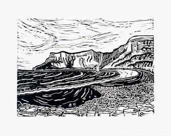 Talisker Bay (Original Linocut Print)