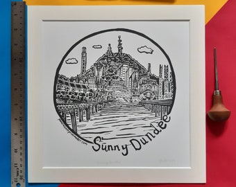 "Sunny Dundee print. 12"" x 12"" Screenprinted enlargement of the linocut print by Pamela Scott. Dundee. Scotland"