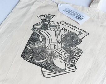 Groceries (Linocut printed Tote bag)