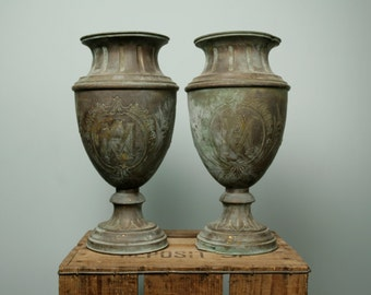 Pair of graveyard vases MA Mary Mater Amibilis