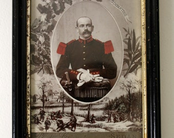 Antique framed photograph of a French soldier.