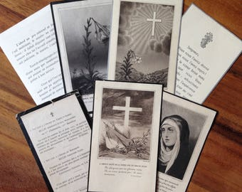 7 French antique funeral cards. Mourning. WW2 soldier.