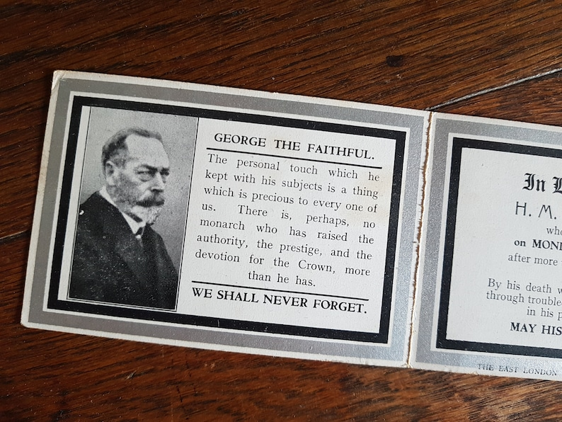 Set of two Antique Funeral  Remembrance In Memoriam cards King George royalty