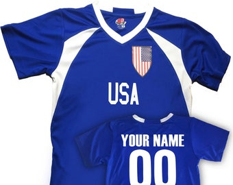 Custom USA Soccer Jersey with Shield Design Personalized with Your Names and Numbers in Your choice of Popular Colors