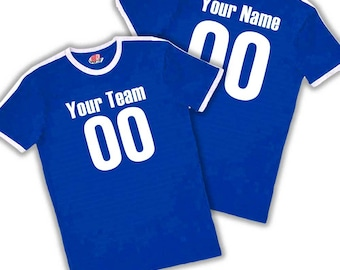 0e058351aff Custom Ringer Soccer T-shirts for The Entire Family with Vintage Sleeve  stripe printed with Team Name