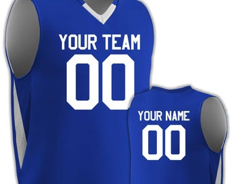 8d67704e521 Custom Basketball Uniform | Matching Shorts | interlock reversible v-neck  basketball jersey. Printed with Team Name, Player Name and Numbers