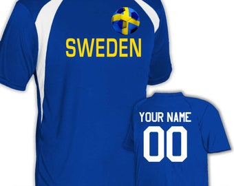 33c6aa65444 Custom Sweden Soccer Jersey Personalized with Your Name and Number in Your  choice of colors