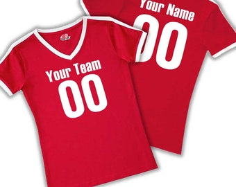 8da1922bf36 Custom Women's Ringer Soccer T-shirt with Vintage Sleeve stripe printed  with Team Name, Player Name and Numbers