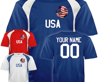 1ec0c80e0c7 Custom USA Soccer Ball 1 Jersey Personalized with Your Names and Numbers in  Your choice of Red, White or Blue