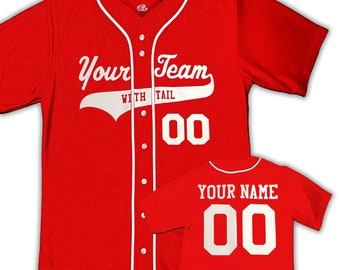 623c15df Full 6 Button Custom Baseball Jersey with Braid, Piping, Your Team Name as a  Logo, Player Names and Numbers