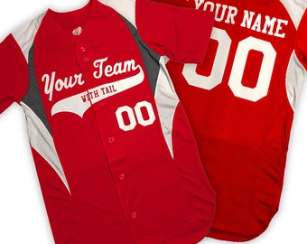 8f3589d7a 3 Color Full Button Down Moisture Wicking Cool Mesh Custom Baseball Jersey  Personalized with Your Names and Numbers