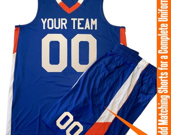 300be1086 Custom Basketball Jersey | Matching Short | V-Neck 2 Color Trim with Team  Name, Player Name and Numbers