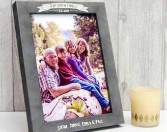 Personalised Stone-Effect Family Photo Frame