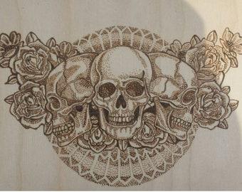 Dotwork skulls and roses wood burning