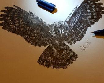 Original Pen on Paper Owl