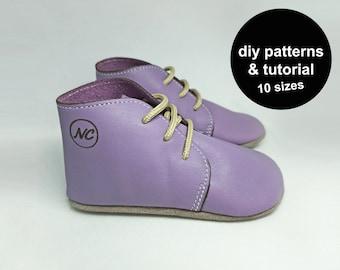 Baby shoe pattern - baby shoe sewing pattern - baby shoe patterns - DIY baby shoe patterns - pdf baby shoe template