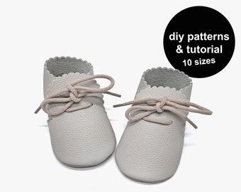 Zip zap baby moccasin pattern, baby shoe pattern, baby shoes sewing pattern, baby moccasins sewing pattern - baby shoe template