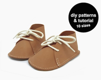 Awesome baby shoe pattern - baby shoe sewing pattern - baby chukka shoes - leather baby shoes patterns - baby shoe template