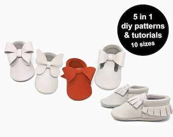 Awesome baby moccasins patttern bundle - baby shoe patterns - diy baby moccasins - baby moccasin template - diy baby shoe sewing patterns