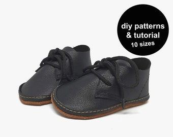 Funky baby shoe pattern - leather baby shoe sewing pattern - baby shoes template - DIY baby shoes patterns - baby shoe patterns