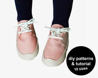 Fun baby shoe pattern - baby shoe sewing pattern - DIY baby shoes - leather baby shoe patterns - baby sneaker pattern - baby shoe patterns