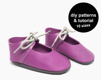 Cutest baby shoe pattern - baby shoes sewing pattern - wedding baby shoes pattern - baby shoe template - DIY baby shoes