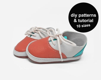 Sporty DIY baby shoes pattern with tutorial to make sneakers for babies and kids with this instant downloadable PDF shoe sewing template