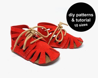 Open baby shoe pattern - diy baby shoe sewing pattern - baby shoe template - baby bootie pattern - baby sandals pattern - baby shoe tutorial