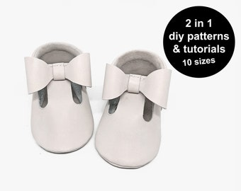 Lovely baby shoe pattern - 2 in 1 baby shoe sewing pattern - baby moccasins pattern - DIY baby shoe patterns - pdf baby shoe template