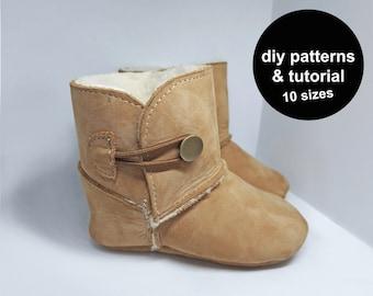 Funky baby shoe pattern - PDF baby shoe pattern - baby shoe sewing pattern -  baby booties pattern - baby shoe patterns - baby boots pattern