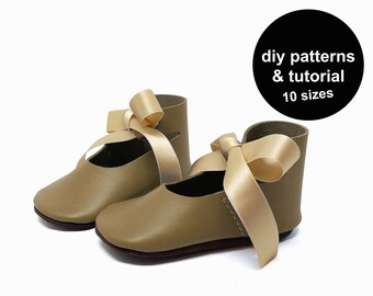 Lovely baby shoe pattern - baby shoe sewing pattern - baby shoe patterns - DIY baby shoe patterns - pdf baby shoe template - diy baby shoes