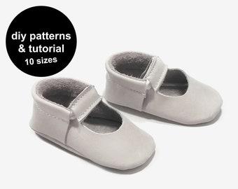 Mary Jane baby shoe pattern - PDF moccasins - shoe pattern baby - diy baby moccassins - moccasin patterns - PDF patterns baby shoes