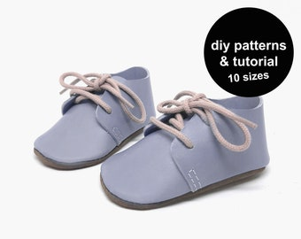 Oxford baby shoe pattern with PDF tutorial and templates to download instantly for sewing baby slippers with shoelaces for babies and kids