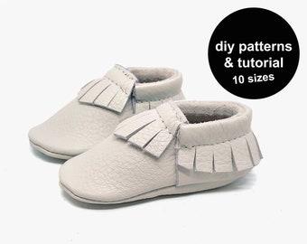 Baby moccasin pattern - baby shoe pattern -  pattern baby shoes - baby moccasin sewing pattern - fringe baby moccasin pattern