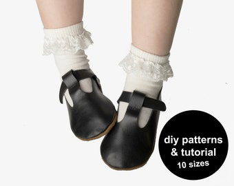 Oh so fun baby shoe patterns - baby sandals pattern - baby shoes pattern - T-strap shoe baby patterns - DIY baby wedding shoes