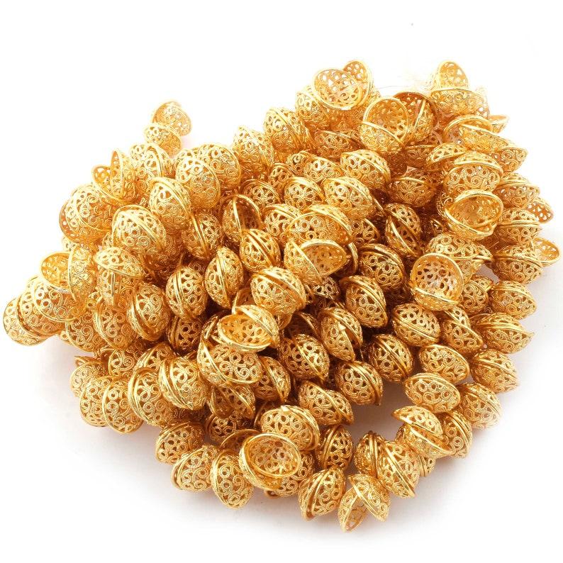Designer Beads CJ051 2 Strands 24k Gold Plated Copper Half Cap Beads 5mmx11mm Jewelry Making