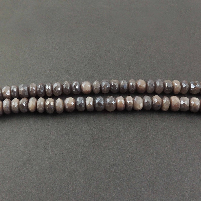 Round Shape Jewelry Making Supplies SPB606 8mm 13 Inches 1 Strand Shaded Grey  Moonstone Silverite Rondelles