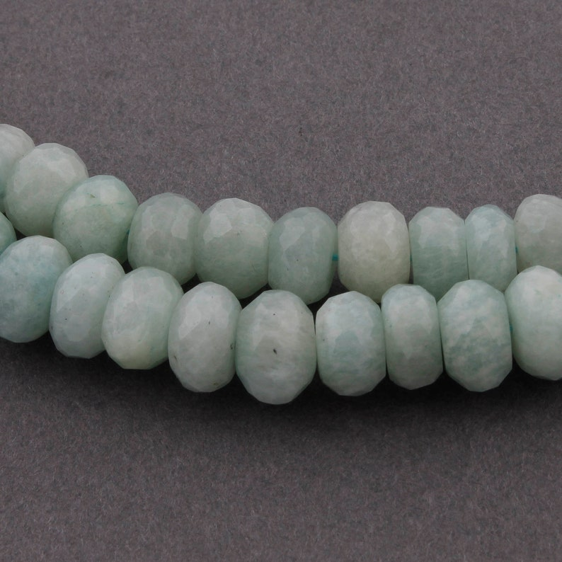 2 Strands Amazonite Faceted Rondelles 13 Inches Jewelry Making SPB316 Amazonite Roundel Beads 6mm-7mm