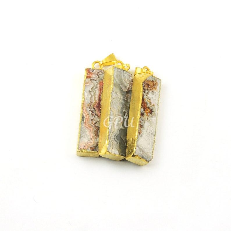 Gold plated Wrapped Arrowhead Faceted jasper pendant 3 pcs Shaded Jasper  Rectangle Arrowhead Pendant Necklace Arrowhead 46mm AD109