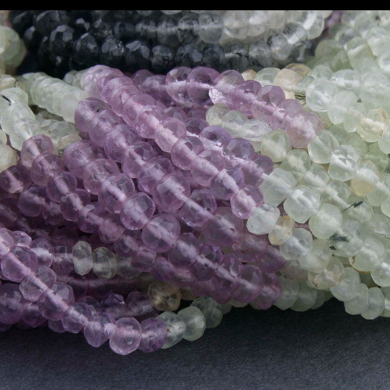 Wholesale 5 Strands 14 Inches Each 3mm Beads Micro Faceted Coated Crystal Quartz Rondelle Beads