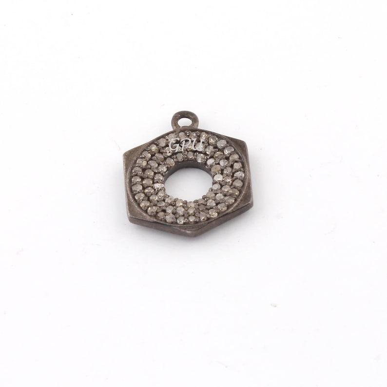 Boho style pave diamond sterling silver OVAL pendant charm