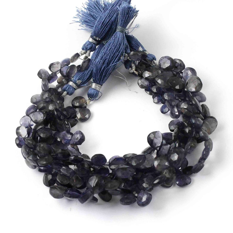 You Choose- Jewelry Making SPB365 Iolite Heart  Gemstone Beads 8 Inches Semi Precious Bead 1 Strand Iolite  Faceted Briolettes